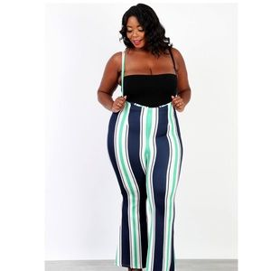 Pants - Plus sized striped Jumpsuit